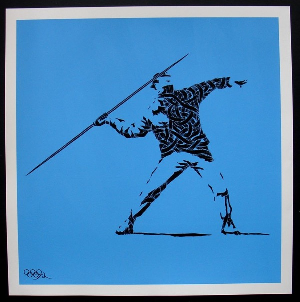 Silk_Screen_Print.Homage to Banksy FTO Blue