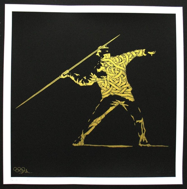 Silk_Screen_Print.Homage to Banksy FTO Gold