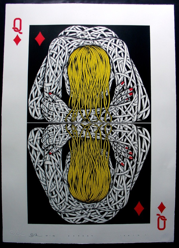 Silk_Screen_Print.Narcissistic Queen of Diamonds Yellow