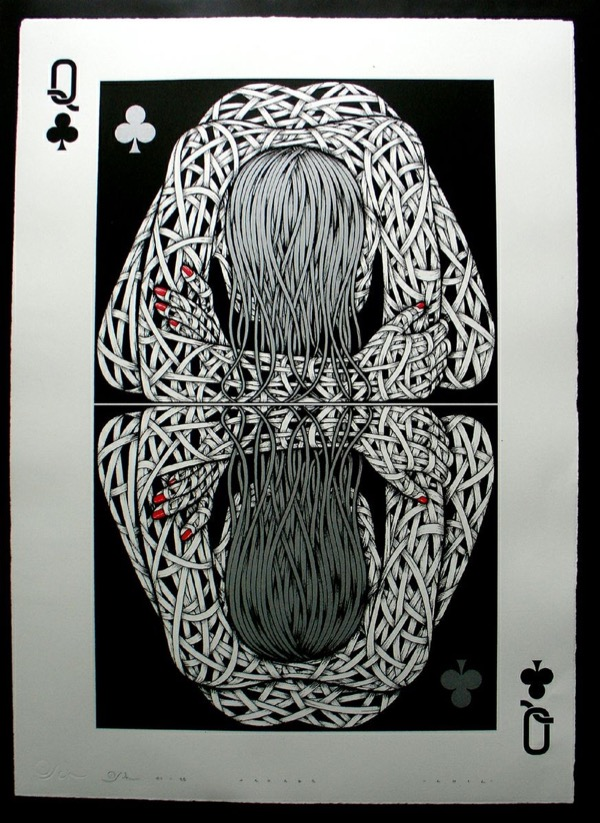 Silk_Screen_Print.Narcissistic Queen of Clubs Grey