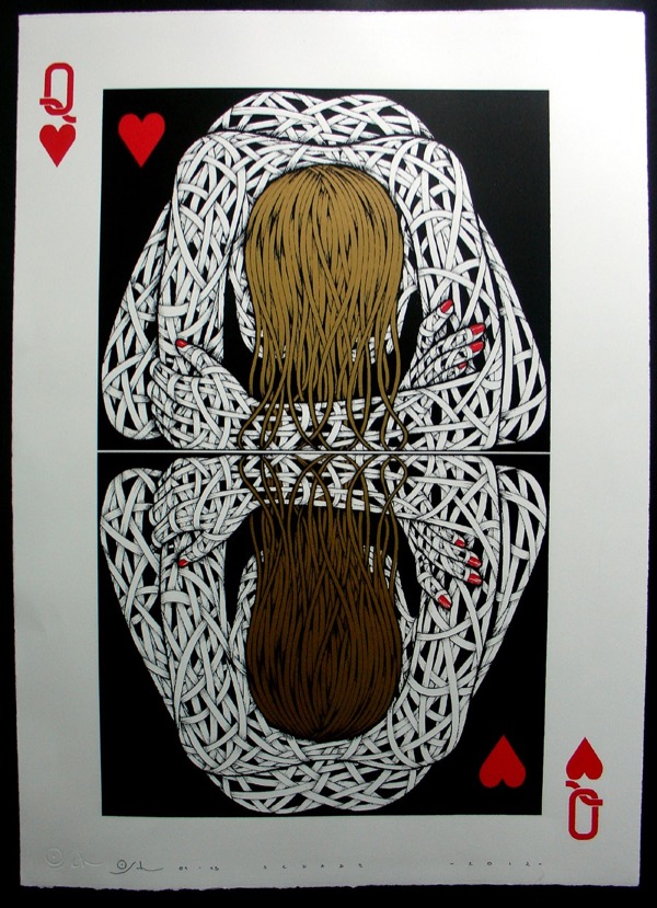 Silk_Screen_Print.Narcissistic Queen of Hearts Gold