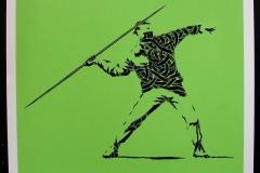 Silk_Screen_Print.Homage to Banksy FTO Green