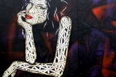 Amy Winehouse, Dimensions- 240 x200cm Stencil Graffiti on Wall Lowbrow Street Art Festival
