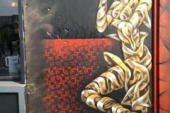 Audrey Smoking, Stencil graffiti on wall, Old Street : Pitfield street, London, 2013
