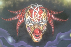 Clown, Stencil graffiti on wall Hackescher Hoffe, Berlin, Germany September 2014