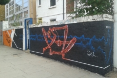 Codefc collab, Stencil graffiti on garage door, Notting Hill August 2014