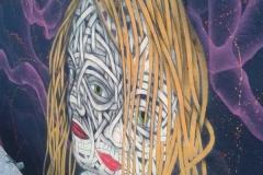 Double Personality, Stencil graffiti on board Sand, Sea and Spray, Blackpool June 2013