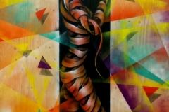 Hidden Audrey, Stencil graffiti on board Created for Finsbury Art Fair July, 2014