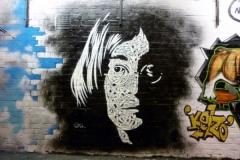 John Lennon, Blackpool,Dimensions- 240 x 200cm Stencil Graffiti on Wall, Sand Sea and Spray Festival