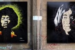 John Lennon & Jimi Hendrix. Corbett Place, Dimensions- 240 x 240cm, Stencil Graffiti on Board (Deleted)