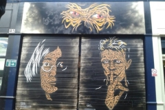 John and Dave, Stencil graffiti on wall, 46 Brixton Village, London, 2013