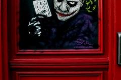 Joker, City Road, Dimensions- 140 x 120cm, Stencil Graffiti on Door