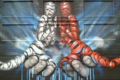 LoveDrops, Stencil graffiti on garage door Amsterdam July, 2014