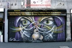 Maria, Stencil Graffiti on Shutter at Hoxton (Deleted)