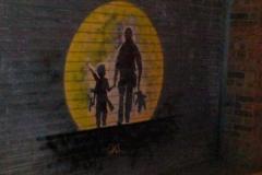 No Comment, Stencil Graffiti on Shutters Hearn Street, Shoreditch, 2011
