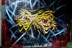 Old Man Face, Bristol, Dimensions- 300 x 200cm Stencil Graffiti on Garage Doors, Upfest Street Art Festival