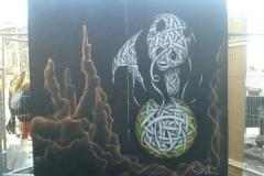 Panda,Stencil graffiti on board , Upfest, Bristol 2013