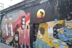 Say it with Flowers, Stencil graffiti on wall, Hackescher Hoffe, Berlin, Germany, October 2013
