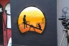 SeeSaw, Stencil graffiti on wall Princelet Street, Shoreditch, London, October 2013