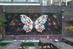 SkullsKey, Stencil graffiti on wall Truman Brewery, Shoreditch March 2013