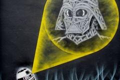 Star Wars, Stencil Graffiti on Wall, Collaboration with Zero Nine, Mother Bar, Shoreditch, 2011