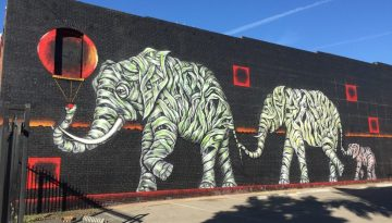 Otto Schade large mural Family Ties in Los Angeles