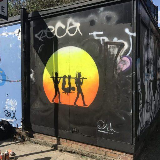 "Otto Schade street artwork ""Senseless"" in Hackney Road, London."