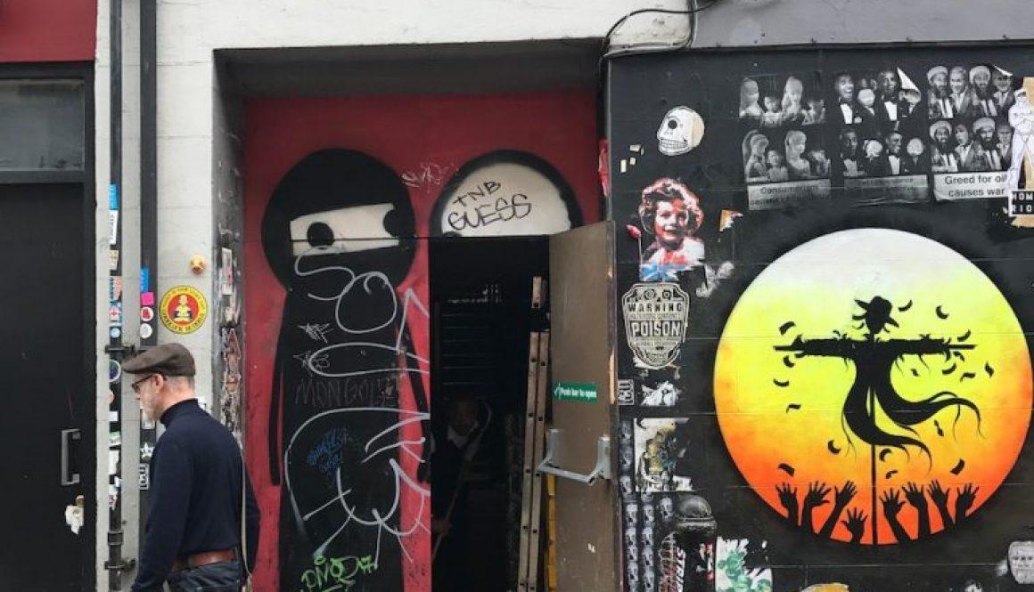 Otto Schade silhouette artwork next to STIK's iconic piece in Princelet Street, London