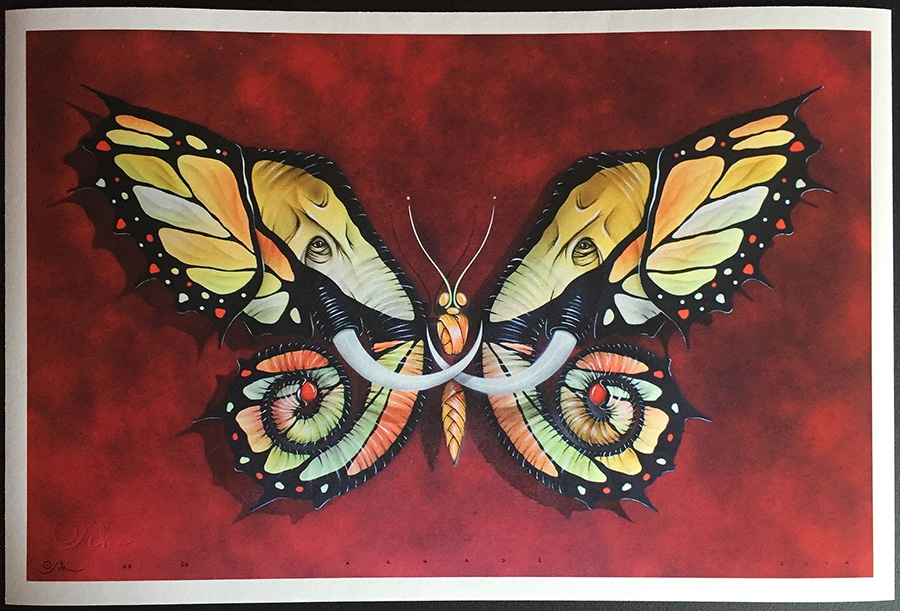 Otto Schade new print entitled Elephutterfly
