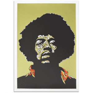Otto Schade - Jimi Hendrix - GREEN BACKGROUND - Yellow + Orange + Red