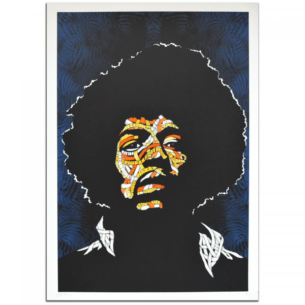 Otto Schade - Jimi Hendrix - BLUE Background - Yellow + Orange 1 + Orange 2