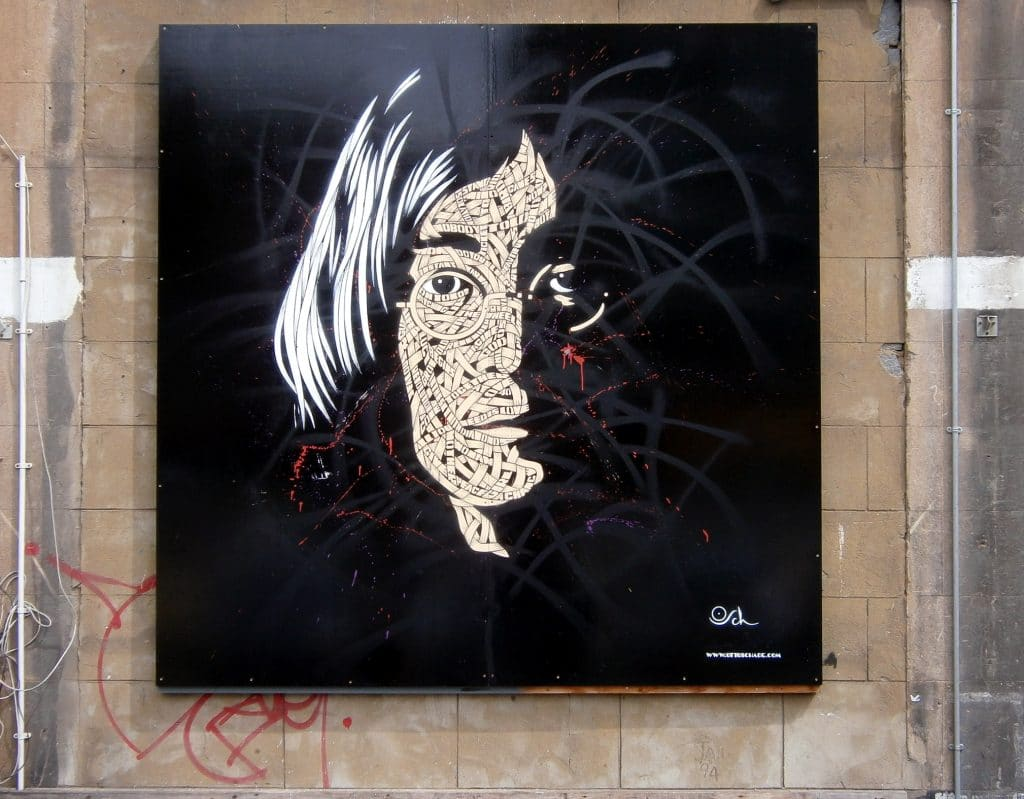 John Lennon Artwork painted by Otto Schade, using his signature ribbon style, in London